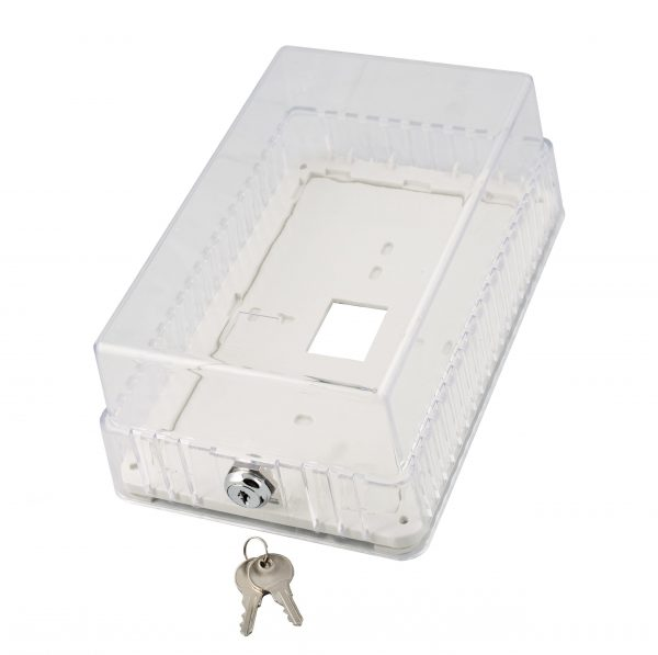 Small thermostat guard, clear plastic